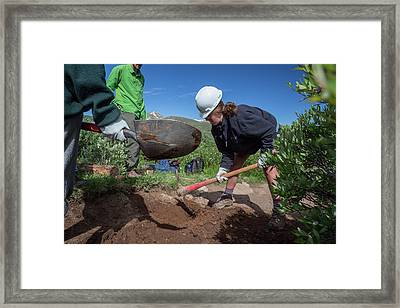 Teenagers Maintaining Hiking Trail Framed Print by Jim West