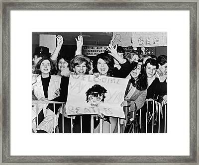 Teenagers Welcome The Beatles Framed Print by Underwood Archives