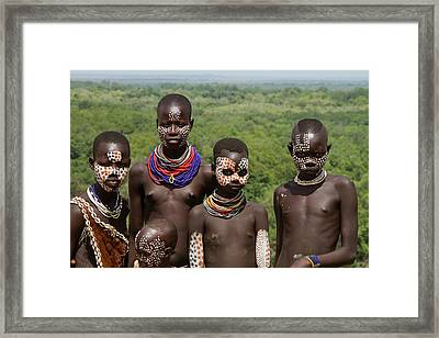 Teens And Children Of The Karo Tribe Framed Print by Photostock-israel