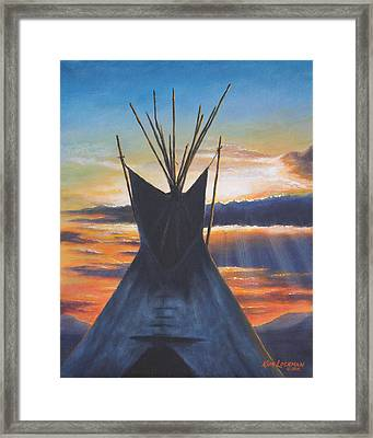 Teepee At Sunset Part 1 Framed Print