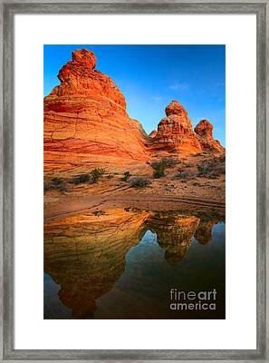 Teepee Reflection Framed Print by Inge Johnsson