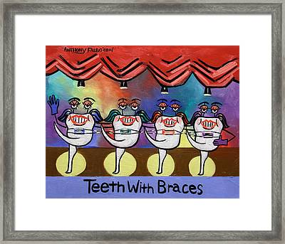 Teeth With Braces Dental Art By Anthony Falbo Framed Print
