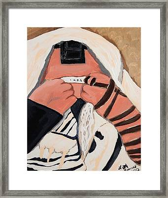 Framed Print featuring the painting Tefillah- In Prayer by Lisa Brandel