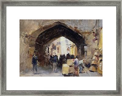 Tehran Bazaar, 1994 Oil On Canvas Framed Print by Trevor Chamberlain