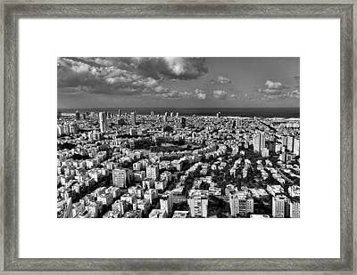 Framed Print featuring the photograph Tel Aviv Center Black And White by Ron Shoshani