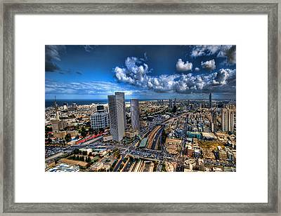 Tel Aviv Center Skyline Framed Print by Ron Shoshani