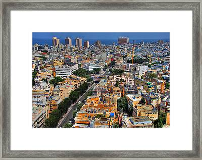 Framed Print featuring the photograph Tel Aviv Eagle Eye View by Ron Shoshani
