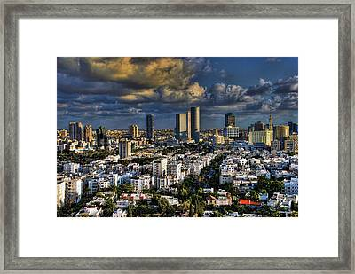 Tel Aviv Skyline Fascination Framed Print by Ron Shoshani