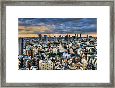 Framed Print featuring the photograph Tel Aviv Skyline Winter Time by Ron Shoshani
