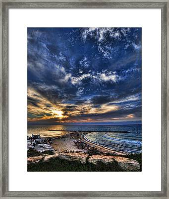 Framed Print featuring the photograph Tel Aviv Sunset At Hilton Beach by Ron Shoshani