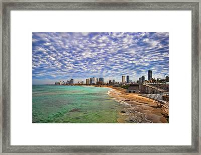 Framed Print featuring the photograph Tel Aviv Turquoise Sea At Springtime by Ron Shoshani