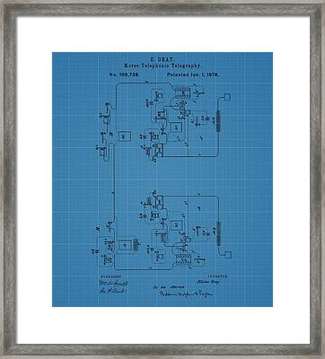 Telegraph Blueprint Patent Framed Print by Dan Sproul