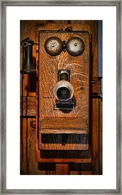 Telephone - Antique Wall Telephone Framed Print by Lee Dos Santos