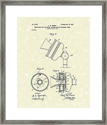 Telephone Mouthpiece 1902 Patent Art Framed Print by Prior Art Design