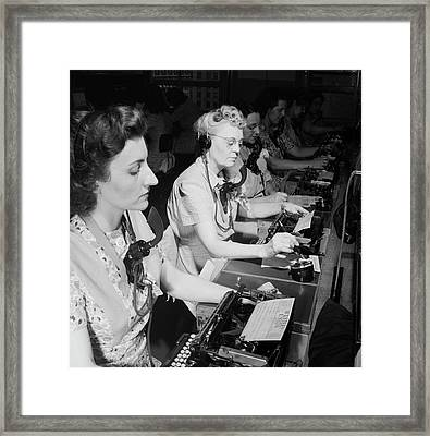Telephone Operators Framed Print by Library Of Congress