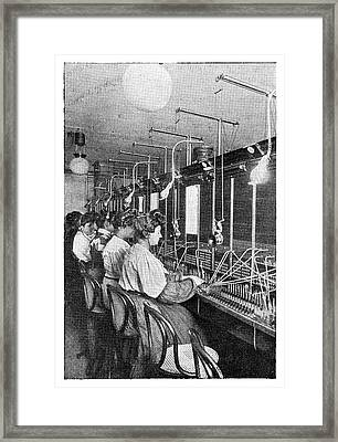 Telephone Operators Framed Print by Science Photo Library