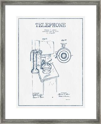 Telephone Patent Drawing From 1898  - Blue Ink Framed Print