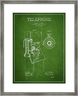 Telephone Patent Drawing From 1898 - Green Framed Print