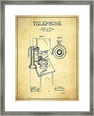 Telephone Patent Drawing From 1898 - Vintage Framed Print by Aged Pixel