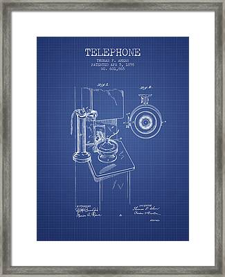 Telephone Patent From 1898 - Blueprint Framed Print