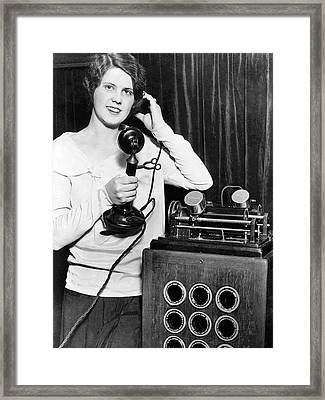 Telephone Recording Device Framed Print by Underwood Archives