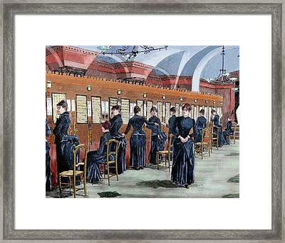 Telephone Service In Madrid Framed Print by Prisma Archivo