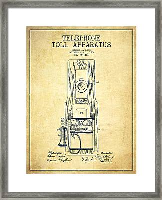 Telephone Toll Apparatus Patent Drawing From 1904 - Vintage Framed Print by Aged Pixel