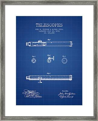 Telescope Patent From 1874 - Blueprint Framed Print by Aged Pixel
