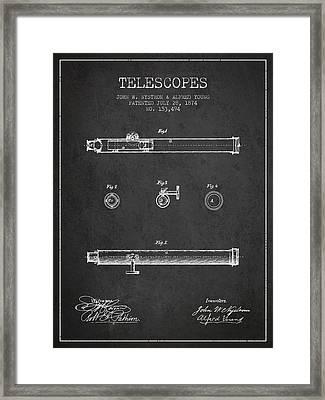Telescope Patent From 1874 - Dark Framed Print