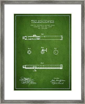 Telescope Patent From 1874 - Green Framed Print