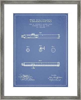 Telescope Patent From 1874 - Light Blue Framed Print