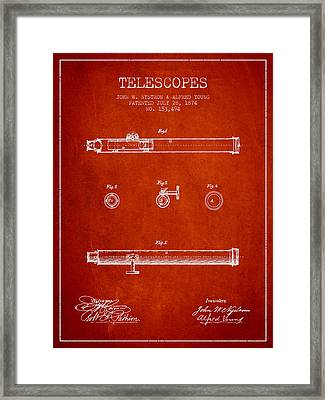 Telescope Patent From 1874 - Red Framed Print