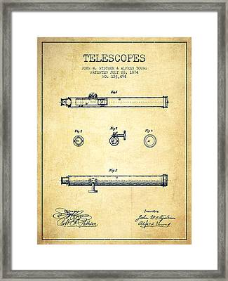 Telescope Patent From 1874 - Vintage Framed Print
