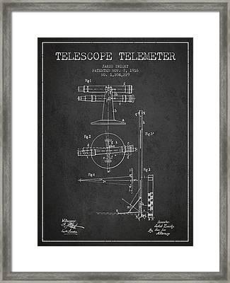 Telescope Telemeter Patent From 1916 - Charcoal Framed Print