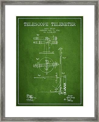 Telescope Telemeter Patent From 1916 - Green Framed Print