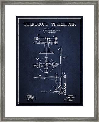 Telescope Telemeter Patent From 1916 - Navy Blue Framed Print