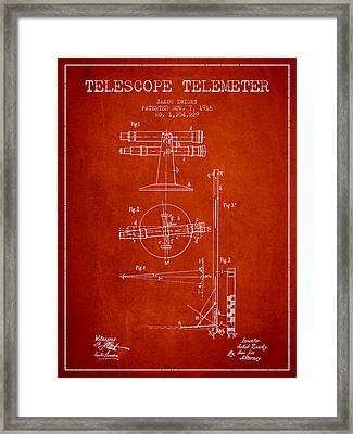 Telescope Telemeter Patent From 1916 - Red Framed Print