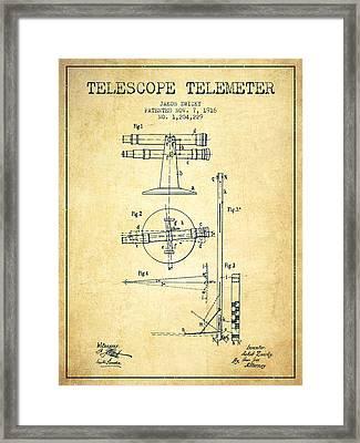 Telescope Telemeter Patent From 1916 - Vintage Framed Print