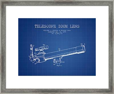 Telescope Zoom Lens Patent From 1999 - Blueprint Framed Print by Aged Pixel