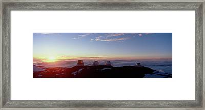 Telescopes On Mauna Kea At Sunset Framed Print by Panoramic Images