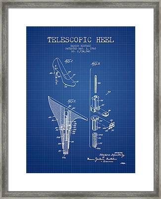 Telescopic Heel Patent From 1960 - Blueprint Framed Print by Aged Pixel