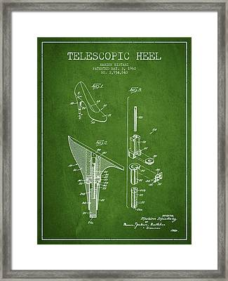 Telescopic Heel Patent From 1960 - Green Framed Print by Aged Pixel