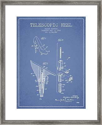 Telescopic Heel Patent From 1960 - Light Blue Framed Print by Aged Pixel