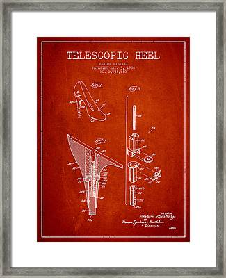 Telescopic Heel Patent From 1960 - Red Framed Print by Aged Pixel