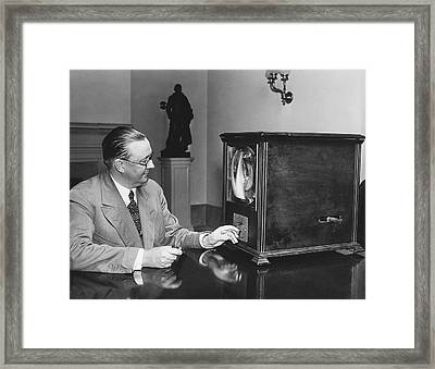 Television In The White House Framed Print by Underwood Archives
