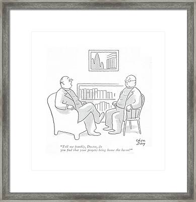 Tell Me Frankly Framed Print by Chon Day