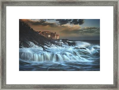Tellaro Water Fall Framed Print