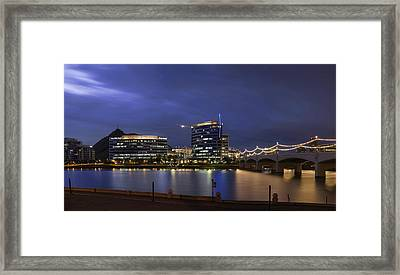 Tempe Town Lake Blue Pano Framed Print by Dave Dilli