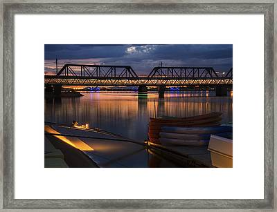 Tempe Town Lake Canoes At Sunset Framed Print by Dave Dilli