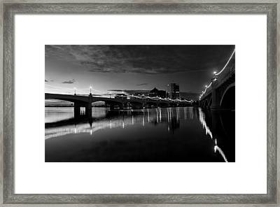 Tempe Town Lake In Black And White Framed Print by Dave Dilli
